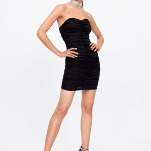 zara ruched dress black sleeveless mini round neck